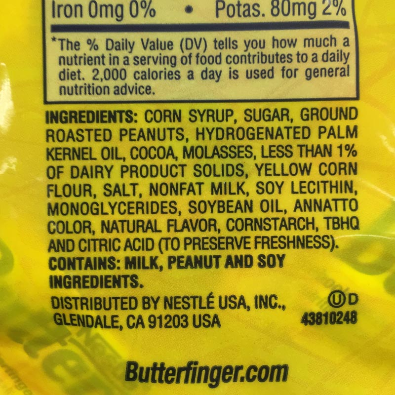 Nestlé Butterfinger Bites Ingredients